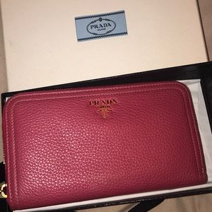 Pink Prada zip around long wallet